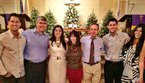 Source: Twitter Josh Murray and family at sister Stephanie's baptism