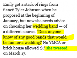 """Wetpaint and the Bait & Switch. They know everyone is looking for details on their wedding rings so they use the phrase """"wedding bands"""" in title."""