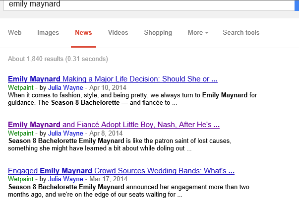 """""""Google News"""": Top 3 results for """"Emily Maynard"""" all Wetpaint"""